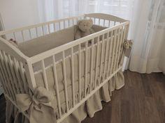 Linen Crib nursery bedding with linen bows