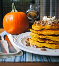 pumpkin bisquick pancakes | Pumpkin Pancakes with Maple Cream and Candied Vanilla Pecans