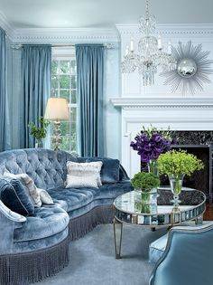 Icy blue living room by Nancy Hill Interiors LOVE the Sofa! - Decoration for House Living Room Designs, Living Room Decor, Living Spaces, Living Rooms, Curved Couch, Blue Couches, Purple Couch, Hill Interiors, Blue Interiors