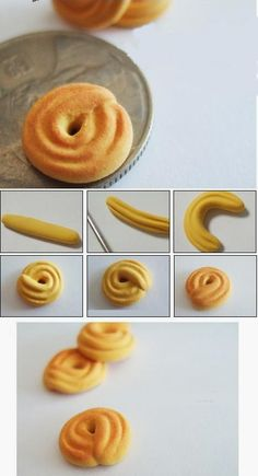 Tutorial fimo ► Clay miniature little biscuit Cute Polymer Clay, Polymer Clay Miniatures, Fimo Clay, Polymer Clay Projects, Polymer Clay Charms, Polymer Clay Creations, Polymer Clay Jewelry, Clay Crafts, Tiny Food
