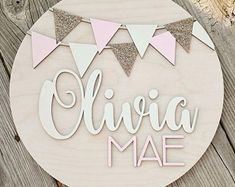 Personalized Name Wood Sign, Round Glitter Baby Name Sign, Custom Name Nursery Sign, Kids Name Sign, Wooden Personalized Name Sign Wood Name Sign, Wood Letters, Monogram Letters, Reclaimed Wood Signs, Wooden Signs, Rustic Wood, Rustic Decor, Farmhouse Decor, Nursery Signs
