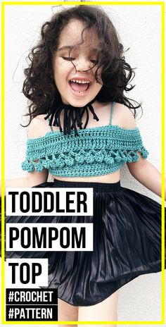crochet TODDLER PomPom Crop Top pattern - easy crochet top pattern for beginners Shorts Crochet, Bikinis Crochet, Crochet Bikini Pattern, Romper Pattern, Swimsuit Pattern, Crochet Bikini Top, Crochet Toddler, Crochet Bebe, Crochet Baby Clothes