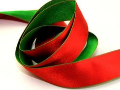 Red and Green Double Sided Wired Edge Satin Christmas Ribbon 38mm wide - 20 metre roll Preview