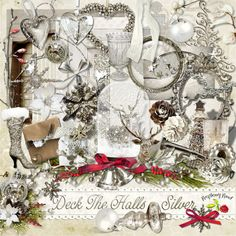A silver Christmas themed scrapbook collection from Raspberry Road.