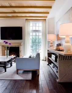 "love the big table and lamps--great way to ""use"" a blank wall"