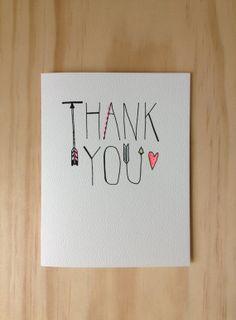 Thank You Card by HartlandBrooklyn on Etsy, $4.50