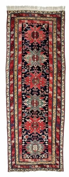 Caucasian-Karabagh-rug  around 1900, ghiordes-knot, worn, damaged, incomplete 300*112 cm