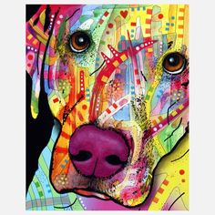 """The Close Up Lab by Dean Russo - Artist Dean Russo has translated into color, the joyful feeling one gets when looking into a sweet Lab's eyes. This close-up rendering, with the pup's captivating eyes and engaging expression, creates a striking work of art for any room in your home.  10"""" high x 8"""" wide  ($17.50/$20 retail)"""