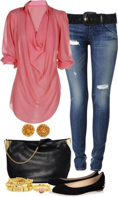 This pink blouse looks figure flattering and comfortable, yet stylish and feminine.