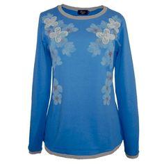Camiseta azul flores encaje