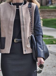 Summer Wind & Talbots leather sleeved jacket and black pumps