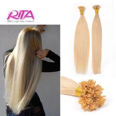 "0.5g/strand 18""-24"" Nail U Flat Tip Brazilian Remy Hair Straight Capsule Keratin Fusion Full Human Hair Extensions"