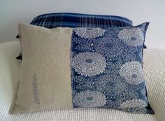 Large japanese indigo katazome pillow with von stockholmhearttokyo