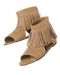 Faux Suede Fringe Sandals