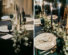 The Big Fake Wedding - Design Inspiration | Willow & Ivy Events | Seattle, Washington Wedding Planner | Modern Unique Marble Hexagon Place Cards | Greenery Table Runner Centerpiece and Navy Blue Design