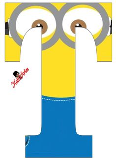 Typography - Minion Alphabet - Letter T Minion Birthday Banner, Minion Theme, Minion Party, My Minion, Minions Minions, Birthday Themes For Boys, Kids Birthday Cards, Boy Birthday, Minion Craft