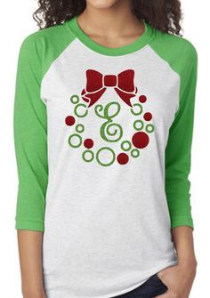Shop for monogram on Etsy, the place to express your creativity through the buying and selling of handmade and vintage goods. Vinyl Monogram, Monogram Wreath, Monogram Design, Monogram Gifts, Christmas Tee Shirts, Christmas Vinyl, Winter Shirts, Christmas Projects, Vinyl Designs