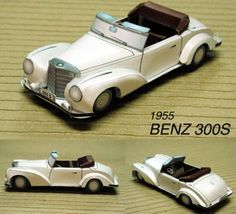 1955 Mercedes-Benz Type 300S Paper Car Free Vehicle Paper Model Download