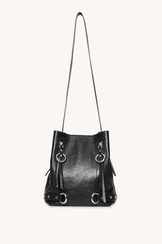 Fashion Handbags, Purses And Handbags, Work Tote, Purse Styles, Black Cross Body Bag, Rebecca Minkoff, Bucket Bag, Black Leather, Metal Accents