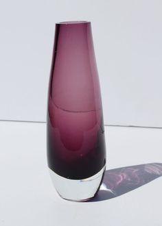 Vintage Mid Century Purple Amethyst Sommerso Art Glass Vase