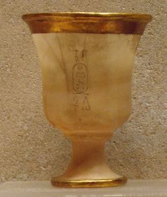 Goblet  Period:New Kingdom Dynasty:Dynasty 18 Reign:reign of Thutmose III Date:ca. 1479–1425 B.C. Geography:From Egypt, Upper Egypt, Thebes, Wadi Gabbanat el-Qurud, Wadi D, Tomb of the 3 Foreign Wives of Thutmose III Medium:Travertine (Egyptian alabaster), gold Dimensions:h. 10.5 cm (4 1/8 in); diam. 8 cm (3 1/8 in)
