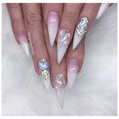 Glitter Ombré Nails Art Design White Bling Stilettos by MargaritasNailz