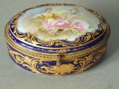French Porcelain Jewelry Box - Antique French Porcelain Sevres Jewelry Box…