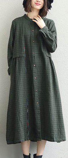 e8aad3e55c 2018 army green shirt dress oversized lapel collar casual dresses New stand  collar shift dress