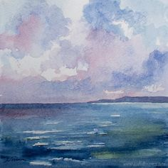 SALE- Original watercolor  painting, CALM SEA, beach painting, seascape painting, blue on Etsy, $40.00
