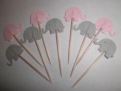 Handmade 24 Food Picks Cupcake toppers Pink and Gray Elephants table decor #Unbranded