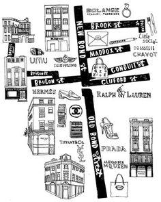 Charlotte Farmer - illustration of Map of the best shops of Bond St. London for Elle Collections magazine