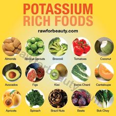 List of Potassium Rich Foods Almonds Apricots Avocados Beets Bok Choy Brazil Nuts Brussels Sprouts Broccoli Cantaloupe Coconut Figs Kiwi Spinach Swiss Chard Tomatoes Healthy Tips, Healthy Snacks, Healthy Recipes, Baby Recipes, Stay Healthy, Potassium Rich Foods, Potassium Benefits, Nutrient Rich Foods, Coconut Health Benefits