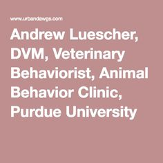 Andrew Luescher, DVM, Veterinary Behaviorist, Animal Behavior Clinic, Purdue University