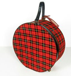 #1960s #vintage red and black plaid round suitcase $36.00