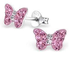Cute Pink Pig Earrings Small Girls Stering Silver 925 E5795