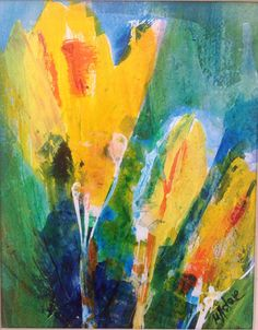 """Yellow Crocous #3,Abstract Flowers Painting Print on paper , 7.5"""" x 9.5"""" by Marta Astar  by MartaAstar on Etsy https://www.etsy.com/listing/227878625/yellow-crocous-3abstract-flowers"""