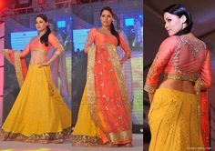 Unique Peaches & Lemon Manish Malhotra Lehenga