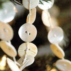 how to tie string onto buttons to make a button garland