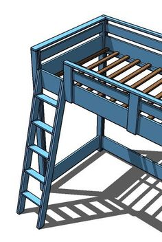Ana white build a how to build a loft bed free and easy diy project and fur Build A Loft Bed, Loft Bed Plans, Murphy Bed Plans, Cheap Furniture, Furniture Plans, Kitchen Furniture, Bedroom Furniture, Industrial Furniture, Space Furniture