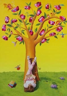 Lecturas sobre el amor hermoso    Mixta sobre tela   92 x 65 cm.