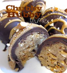Chubby Hubby Truffles #Recipe #Dessert  2 cups of pretzels - crushed down to a little over a cup of crushed pretzels 1/2 cup chunky peanut butter 1/4ish cup creamy peanut butter 3 tbsp brown sugar 4 tbsp powdered sugar Dash of salt 1 tbsp+ unsalted butter