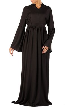 Bell sleeves and front zipper flared abaya dress available only at eastessence. Modest Wear, Modest Outfits, Kaftan Style, Islamic Clothing, Pakistani Outfits, Satin Dresses, Casual Wear, Cold Shoulder Dress, How To Wear