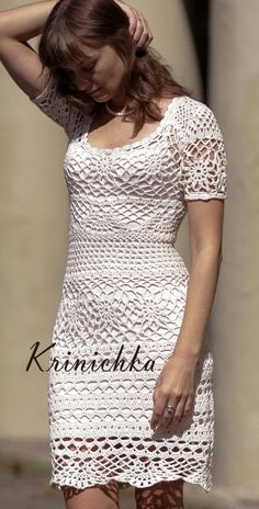 crochet dress Krinichka See other ideas and pictures from the category menu…. Crochet Jumper, Crochet Skirts, Crochet Blouse, Crochet Clothes, Crochet Lace, Beach Crochet, Crochet Summer Tops, Clothing Patterns, Dress Patterns