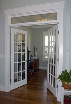 interior french doors transom. nice internal windows and transom for separation of spaces. eg. home office, tv room, etc. can close the doors but still feels open (favorite space\u2026 interior french m