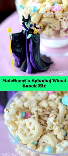 Yum! Quick and easy snacks perfect for a Disney Princess inspired party: Maleficent's Spinning Wheel Snack Mix recipe! #DisneyBeauties #ad