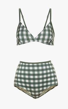 Solid & Striped olive check Belle bikini top, $105; Solid & Striped olive and cream Bridgette bikini bottom, $73.