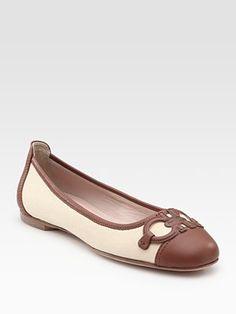 Salvatore Ferragamo  Darleen Leather and Linen Ballet Flats