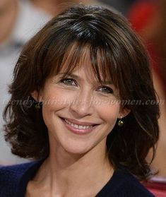 medium hairstyles over 50 - Sophie Marceau shoulder length hairstyle