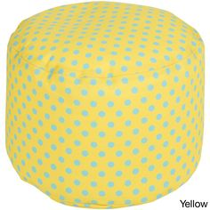 Polka Dots Outdoor/ Indoor Decorative Cylinder Pouf (Yellow), Size Small (Polyester)