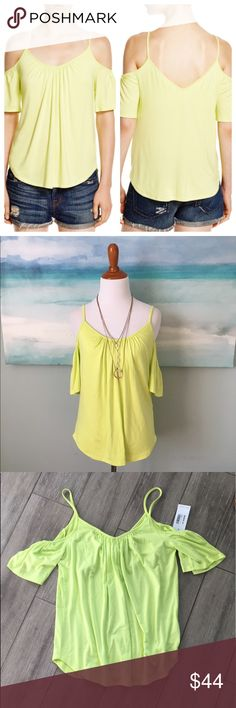 Ella Moss Cold Shoulder Tank Neon Yellow Grab up one of the best deals on Posh... an Ella Moss tank with tags for a fraction of retail. This flowy cold shoulder tank is on trend and so soft!! Built-in shelf bra. Could fit up to a small. My form is an XS. No trades, please. Bundle for best pricing - look around ! 💕 Ella Moss Tops Tank Tops